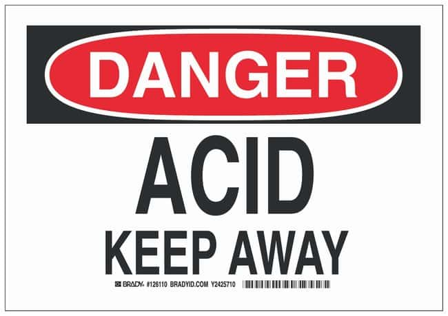 Brady Polystyrene Danger Sign: ACID KEEP AWAY Black/red on white; Non-adhesive;