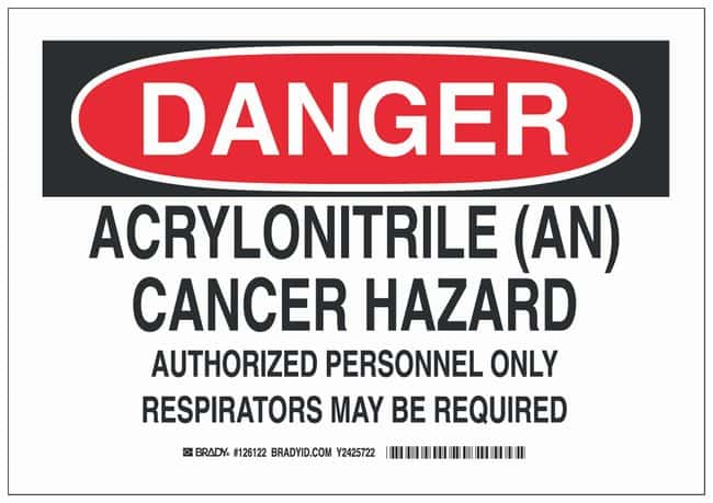 Brady Polyester Danger Sign: ACRYLONITRILE (AN) CANCER HAZARD AUTHORIZED