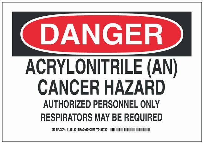 Brady Aluminum Danger Sign: ACRYLONITRILE (AN) CANCER HAZARD AUTHORIZED