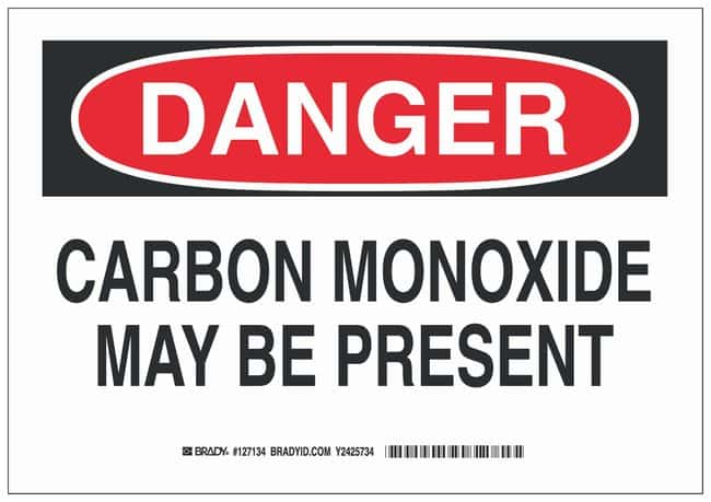 Brady Aluminum Danger Sign: CARBON MONOXIDE MAY BE PRESENT Black/red on
