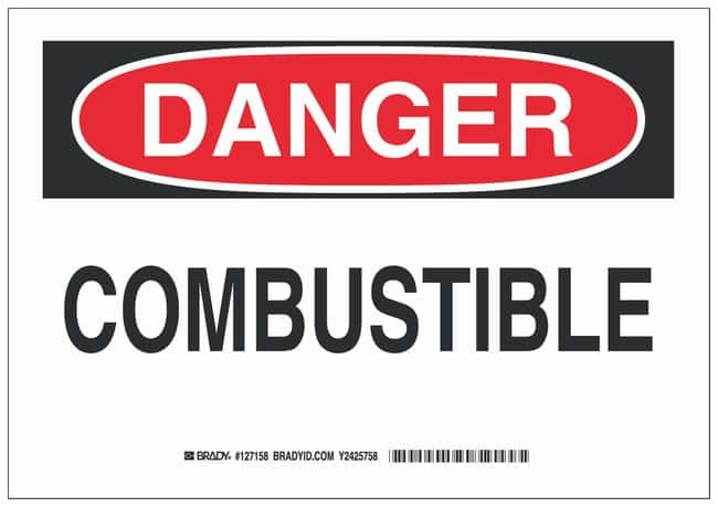 Brady Aluminum Danger Sign: COMBUSTIBLE Black/red on white; 10 in. x 7