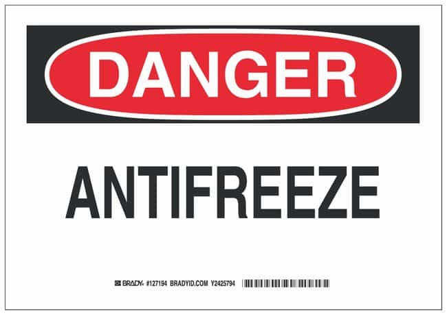 Brady Aluminum Danger Sign: ANTIFREEZE Black/red on white; Non-adhesive;