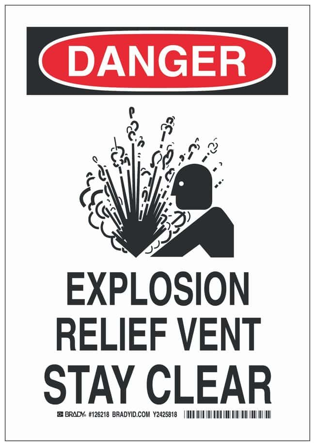 Brady Aluminum Danger Sign: EXPLOSION RELIEF VENT STAY CLEAR:Gloves, Glasses
