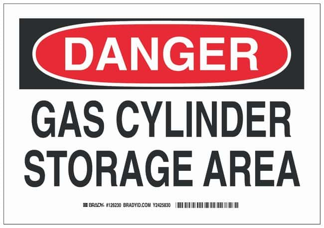 Brady Polystyrene Danger Sign: GAS CYLINDER STORAGE AREA Black/red on white;