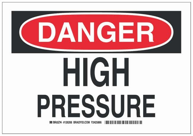 Brady Aluminum Danger Sign: HIGH PRESSURE Black/red on white; 14 in. x