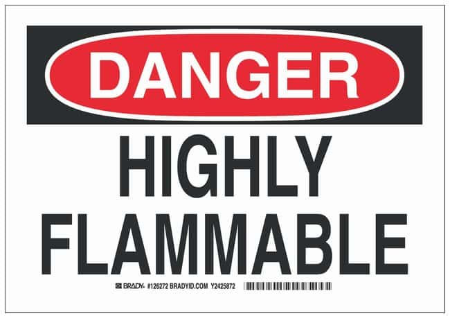 Brady Aluminum Danger Sign: HIGHLY FLAMMABLE:Gloves, Glasses and Safety:Facility