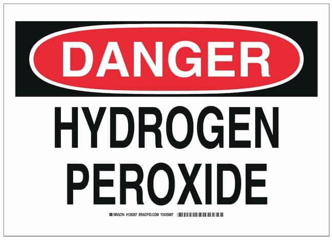 Brady Aluminum Danger Sign: HYDROGEN PEROXIDE Black/red on white; Non-adhesive;