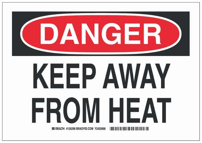 Brady Aluminum Danger Sign: KEEP AWAY FROM HEAT Black/red on white; 14