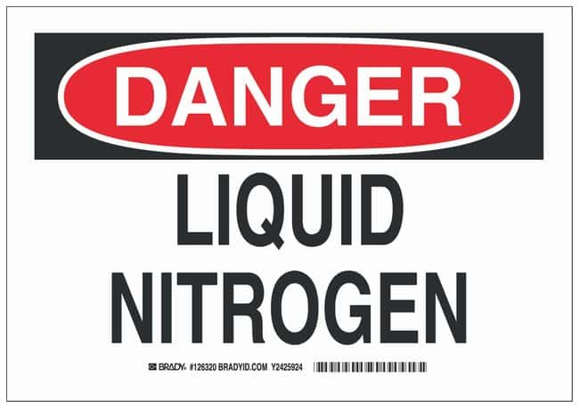 Brady Polyester Danger Sign: LIQUID NITROGEN Black/red on white; Cold temperature