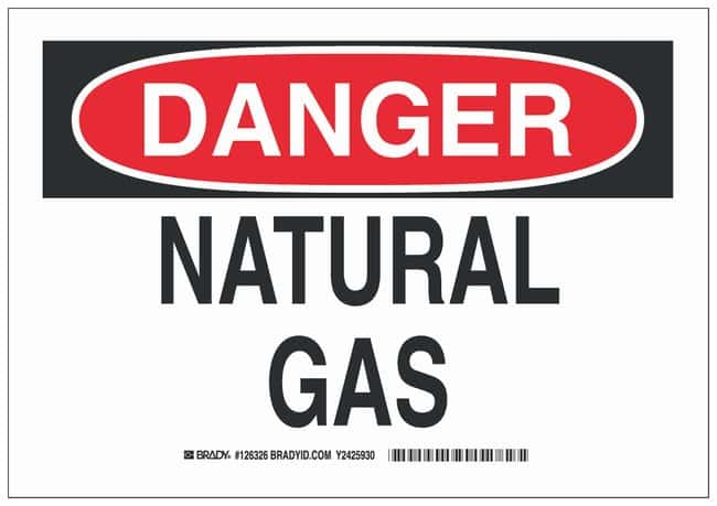 Brady Polystyrene Danger Sign: NATURAL GAS Black/red on white; Non-adhesive;