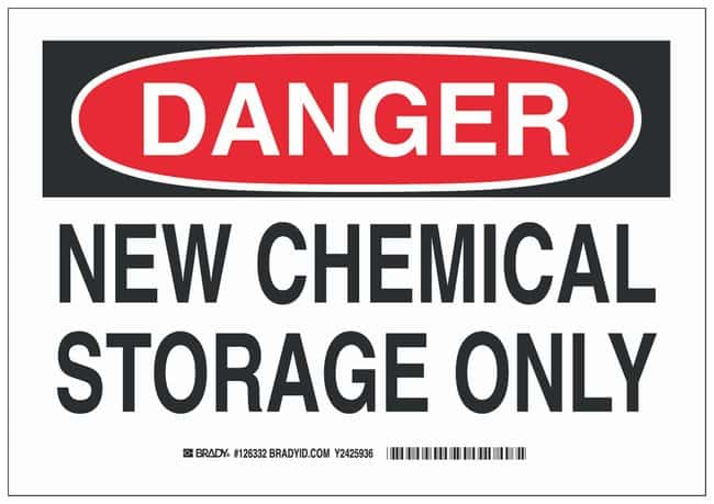 Brady Aluminum Danger Sign: NEW CHEMICAL STORAGE ONLY Black/red on white;