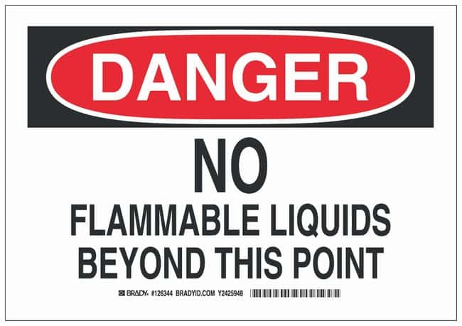 Brady Polyester Adhesive Warning Sign: NO FLAMMABLE LIQUIDS BEYOND THIS