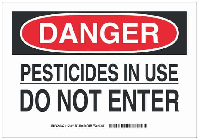 Brady Aluminum Danger Sign: PESTICIDES IN USE DO NOT ENTER Black/red on