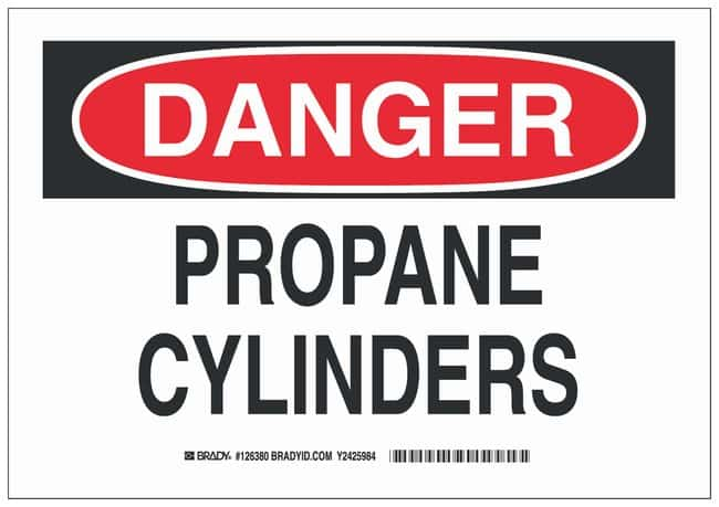 Brady Aluminum Danger Sign: PROPANE CYLINDERS Black/red on white; Non-adhesive;