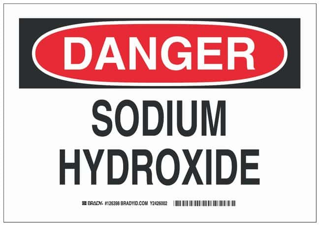 Brady Polyester Danger Sign: SODIUM HYDROXIDE Black/red on white; Cold