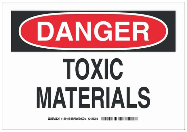 Brady Aluminum Danger Sign: TOXIC MATERIALS Black/red on white; Non-adhesive;