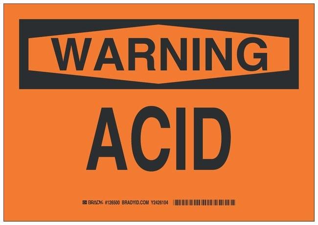 Brady Polystyrene Warning Sign: ACID Black on orange; Non-adhesive; Corner