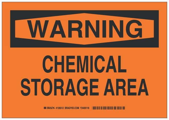 Brady Polystyrene Warning Sign: CHEMICAL STORAGE AREA Black on orange;