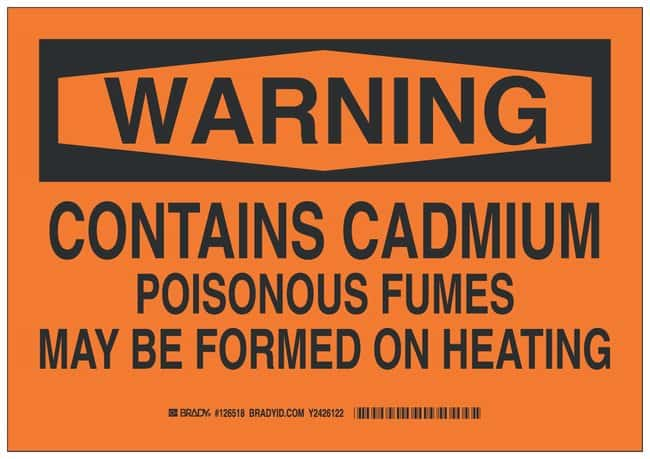 Brady Polyester Warning Sign: CONTAINS CADMIUM POISONOUS FUMES MAY BE FORMED