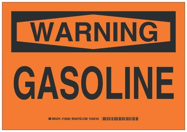 Brady Polystyrene Warning Sign: GASOLINE Black on orange; Non-adhesive;