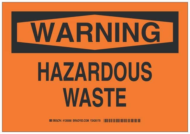 Brady Polyester Adhesive Warning Sign: HAZARDOUS WASTE Black on orange;