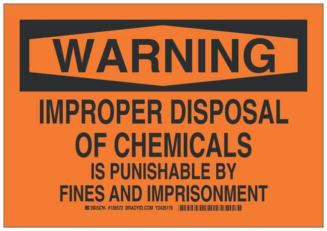 Brady Aluminum Warning Sign: IMPROPER DISPOSAL OF CHEMICALS IS PUNISHABLE