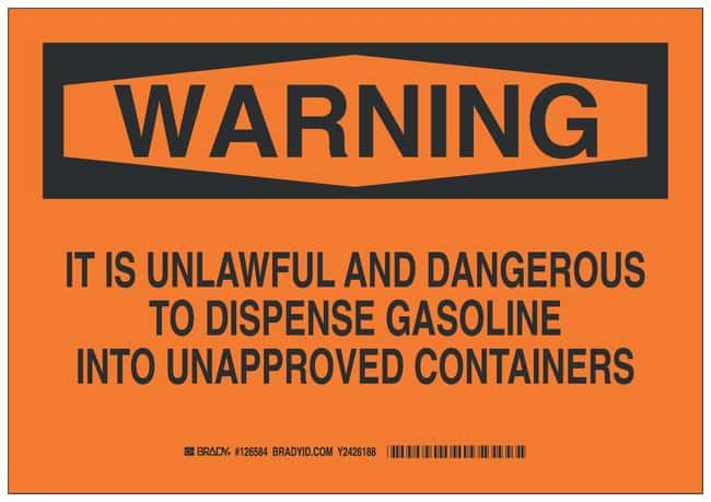 Brady Polystyrene Warning Sign: IT IS UNLAWFUL AND DANGEROUS TO DISPENSE