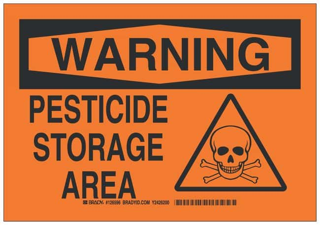 Brady Polystyrene Warning Sign: PESTICIDE STORAGE AREA:Gloves, Glasses