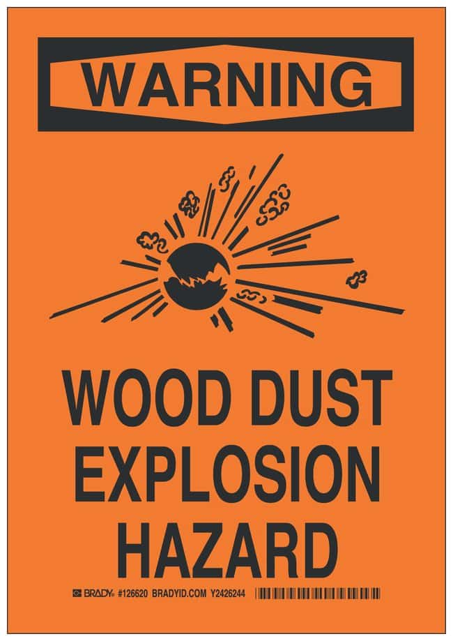 Brady Polyester Adhesive Warning Sign: WOOD DUST EXPLOSION HAZARD Black