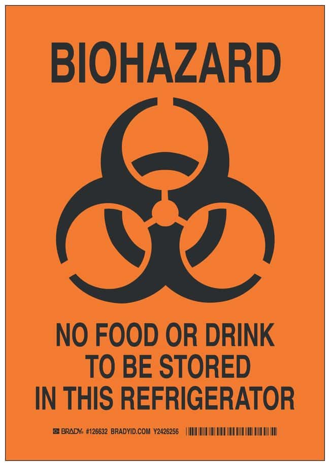 Brady Aluminum Caution Sign: BIOHAZARD NO FOOD OR DRINK TO BE STORed IN