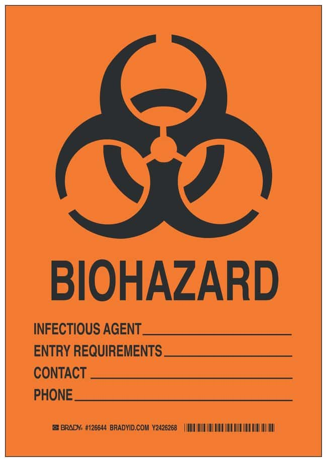 Brady Polyester Caution Sign: BIOHAZARD INFECTIOUS AGENT___ ENTRY REQUIREMENTS