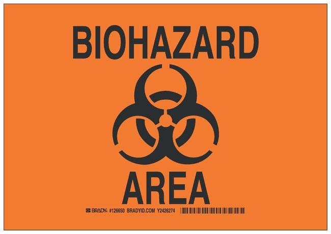 Brady Polystyrene Caution Sign: BIOHAZARD AREA Black on orange; Non-adhesive;