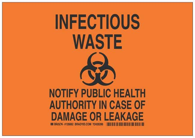 Brady Aluminum Infectious waste Sign: NOTIFY PUBLIC HEALTH AUTHORITY IN