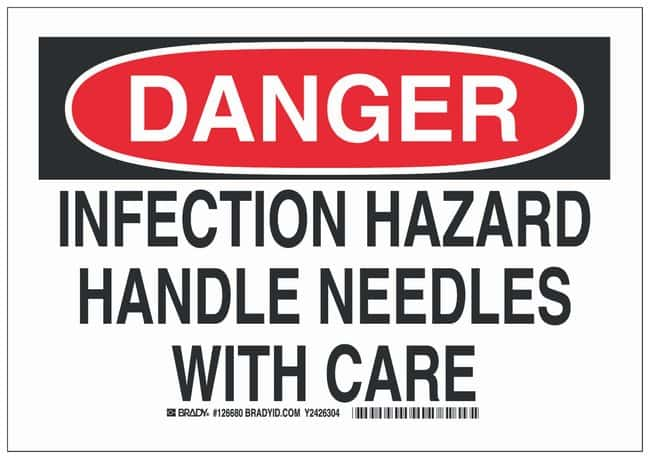 Brady Polystyrene Danger Sign: INFECTION HAZARD HANDLE NEEDLES WITH CARE