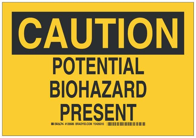Brady Aluminum Caution Sign: POTENTIAL BIOHAZARD PRESENT Black on yellow;