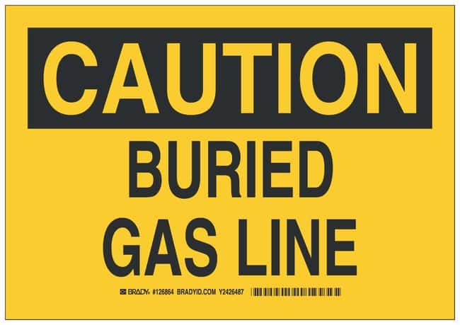 Brady Polyester Adhesive Warning Sign: BURIED GAS LINE Black on yellow;