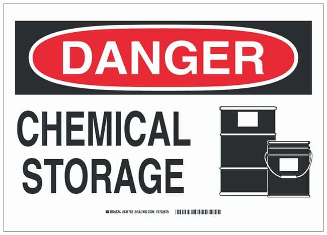 Brady Polystyrene Danger Sign: CHEMICAL STORAGE, black and red:Gloves,