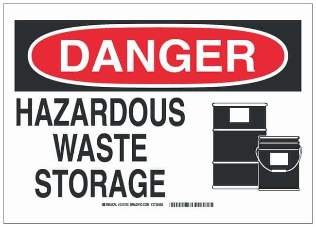 Brady Aluminum Danger Sign: HAZARDOUS WASTE STORAGE:Gloves, Glasses and