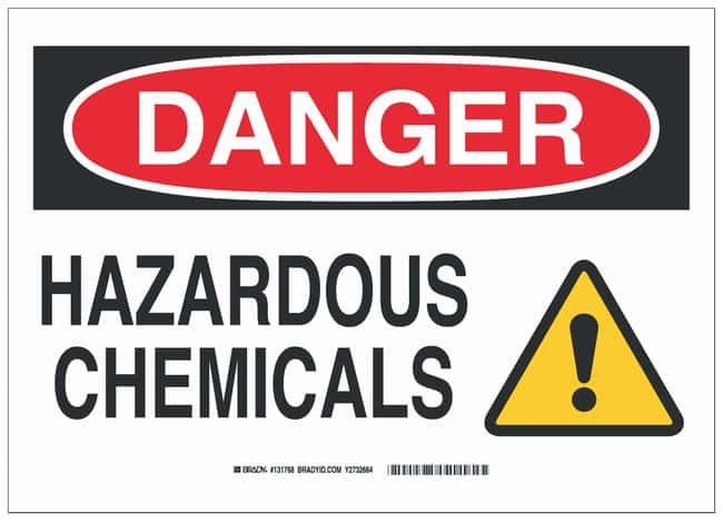 Brady Fiberglass Danger Sign: HAZARDOUS CHEMICALS Black/red/yellow on white;