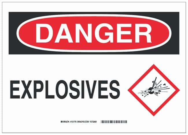 Brady Polyester Adhesive Warning Sign: EXPLOSIVES Black/red on white; 14