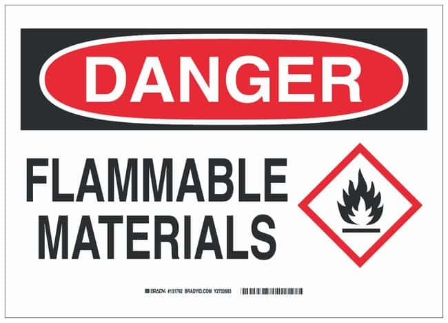 Brady Fiberglass Danger Sign: FLAMMABLE MATERIALS Black/red on white; 14