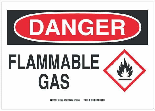 Brady Polyester Adhesive Danger Sign: FLAMMABLE GAS, pictogram Black/red