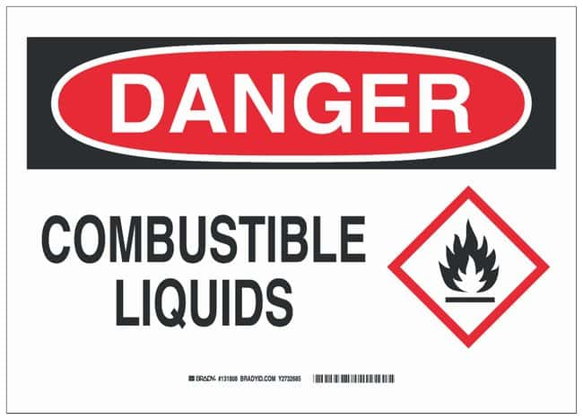 Brady Polystyrene Danger Sign: COMBUSTIBLE LIQUIDS Black/red on white;