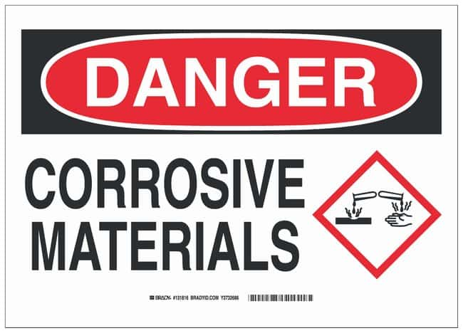 Brady Fiberglass Danger Sign: CORROSIVE MATERIALS:Gloves, Glasses and Safety:Facility