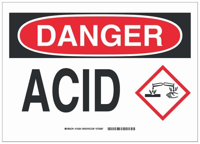 Brady Aluminum Danger Sign: ACID, With Corner Holes Black/red on white;