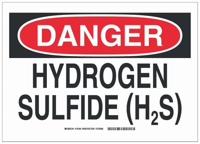 Brady Aluminum Danger Sign: HYDROGEN SULFIDE (H2S) Black/red on white;