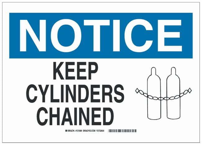 Brady Aluminum Notice Sign: KEEP CYLINDERS CHAINED Black/blue on white;
