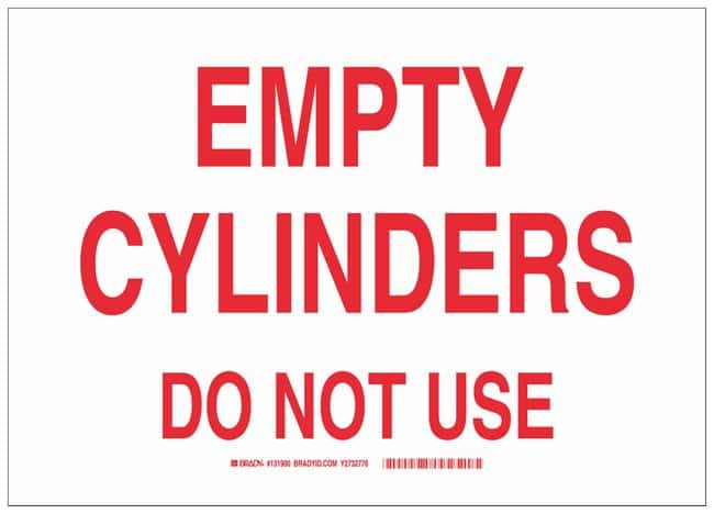 Brady Fiberglass Warning Sign: EMPTY CYLINDERS DO NOT USE Red on white;