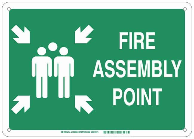 Brady Polystyrene Emergency Sign: FIRE ASSEMBLY POINT, pictogram:Gloves,