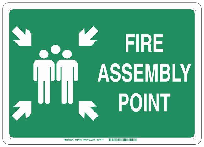 Brady Fiberglass Fire Emergency & Disaster Sign: FIRE ASSEMBLY POINT, pictogram:Gloves,
